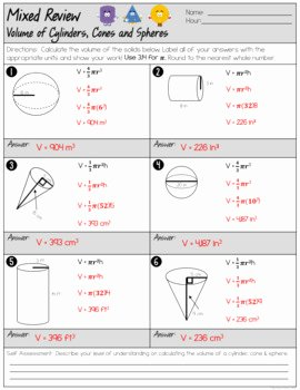 Volume Of Spheres Worksheet Best Of Volume Of Cylinders Cones and Spheres Mixed Review