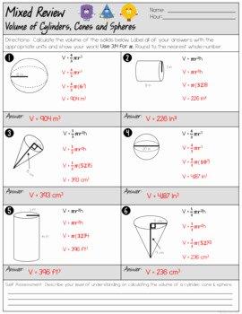 Volume Of Spheres Worksheet Best Of Volume Of Cylinders Cones and Spheres Mixed Review