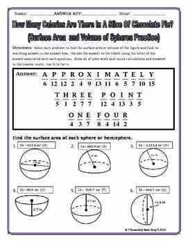 Volume Of Spheres Worksheet Elegant Surface area and Volume Spheres and Hemispheres Riddle