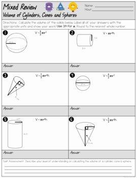 Volume Of Spheres Worksheet Elegant Volume Of Cylinders Cones and Spheres Mixed Review