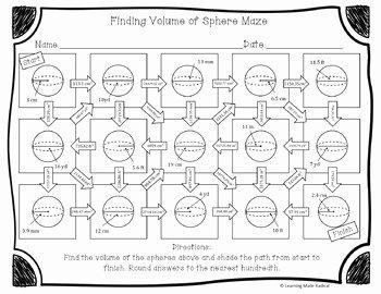 Volume Of Spheres Worksheet Elegant Volume Of Sphere Maze Activity by Learning Made Radical