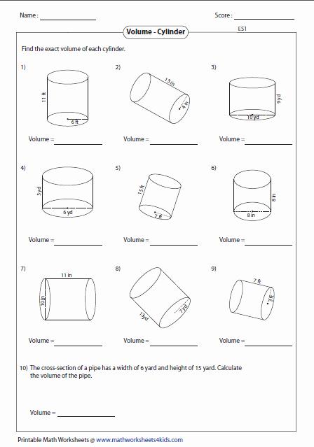 Volume Of Spheres Worksheet Elegant Volume Worksheets