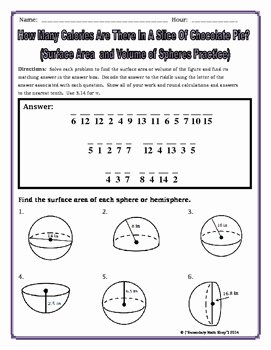 Volume Of Spheres Worksheet Luxury Surface area and Volume Spheres and Hemispheres Riddle