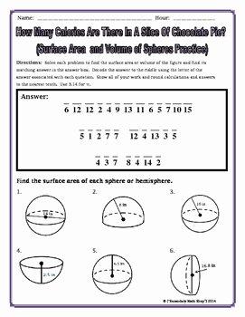 Volume Of Spheres Worksheet Luxury Surface area and Volume Spheres and Hemispheres Riddle