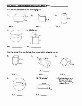 Volume Of Spheres Worksheet New Geometry Unit 7 Cylinder Sphere Rectangular Prism Surface