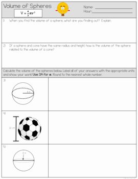 Volume Of Spheres Worksheet New Volume Of Spheres Worksheets by the Clever Clover