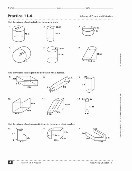 Volume Rectangular Prism Worksheet Awesome Practice 11 4 Volumes Of Prisms and Cylinders Worksheet