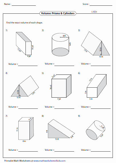 Volume Rectangular Prism Worksheet Awesome Volume Worksheets
