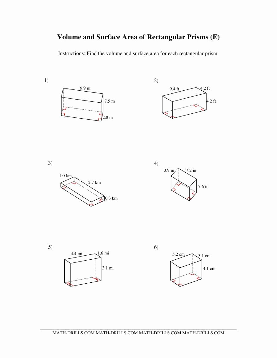 Volume Rectangular Prism Worksheet Beautiful Volume and Surface area Of Rectangular Prisms E