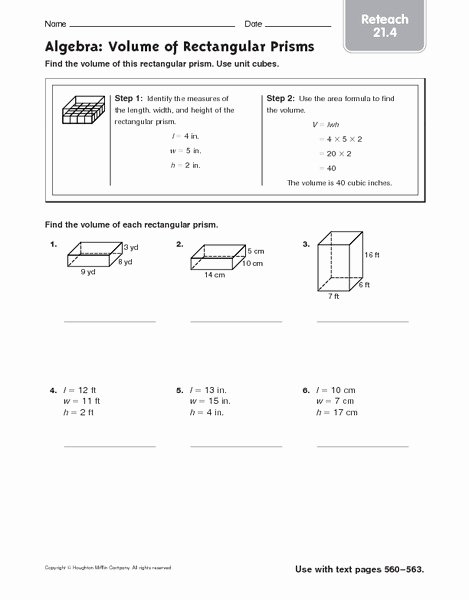 Volume Rectangular Prism Worksheet Best Of Algebra Volume Of Rectangular Prisms Reteach Worksheet