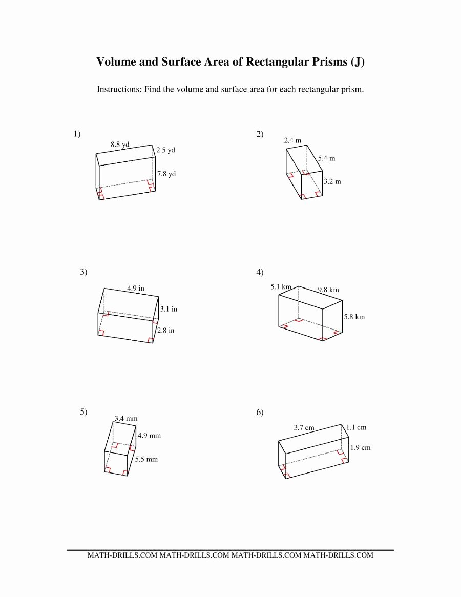 Volume Rectangular Prism Worksheet Fresh Volume and Surface area Of Rectangular Prisms J