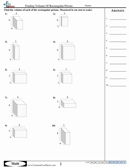 Volume Rectangular Prism Worksheet Fresh Volume Worksheets