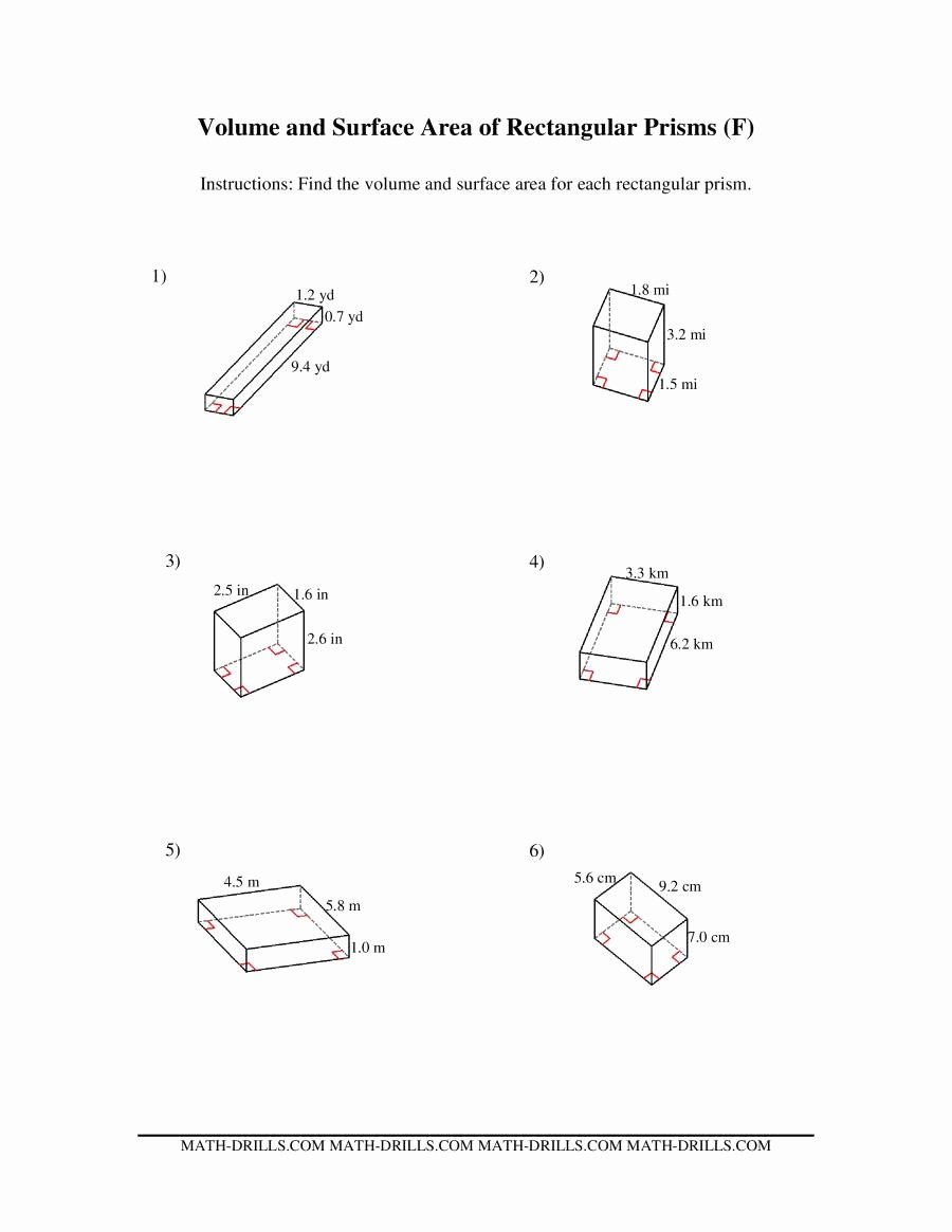 Volume Rectangular Prism Worksheet Inspirational Volume and Surface area Of Rectangular Prisms F