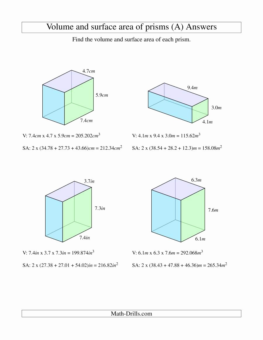 Volume Rectangular Prism Worksheet Inspirational Volume and Surface area Of Rectangular Prisms with Decimal
