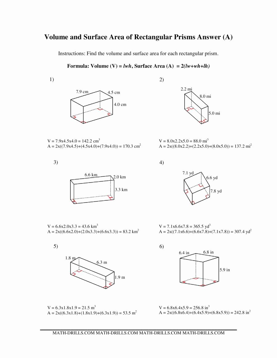 Volume Rectangular Prism Worksheet Luxury Volume and Surface area Of Rectangular Prisms A