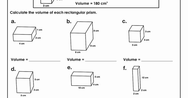 Volume Rectangular Prism Worksheet Luxury Volume Of Rectangular Prism Worksheet