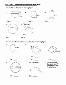 Volume Rectangular Prism Worksheet New Geometry Unit 7 Cylinder Sphere Rectangular Prism Surface