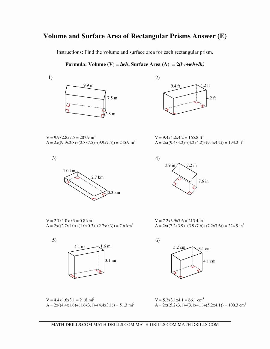 Volume Rectangular Prism Worksheet Unique Volume and Surface area Of Rectangular Prisms E