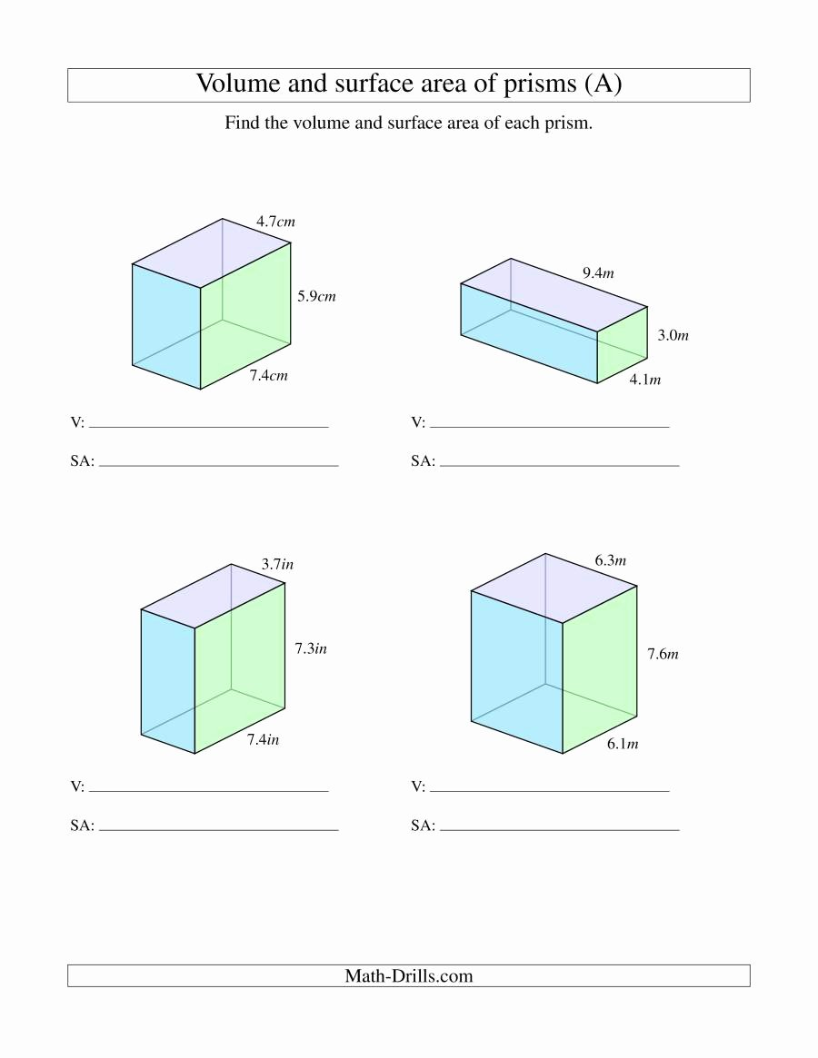 Volume Rectangular Prism Worksheet Unique Volume and Surface area Of Rectangular Prisms with Decimal