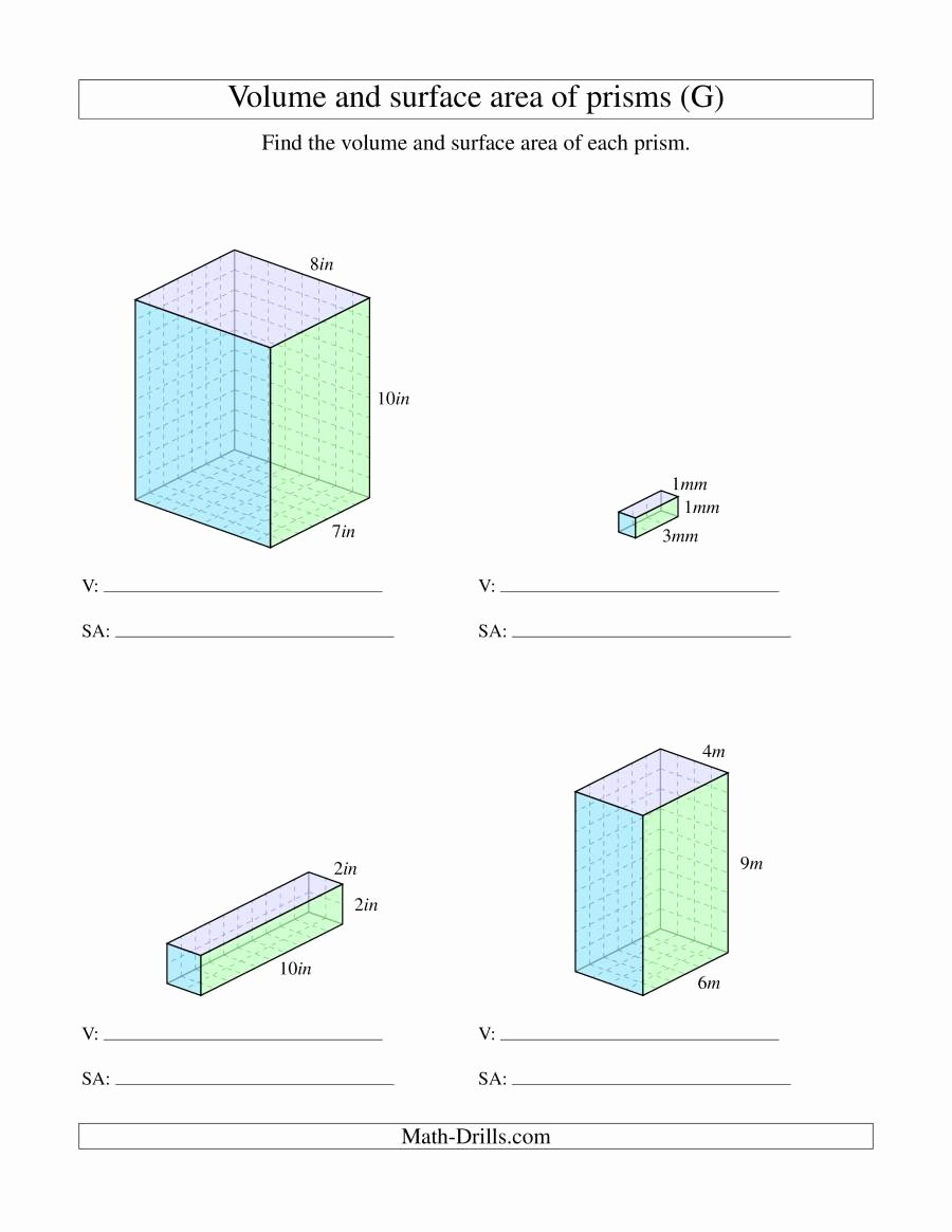 Volume Rectangular Prism Worksheet Unique Volume and Surface area Of Rectangular Prisms with whole