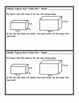 Volume Word Problems Worksheet Beautiful Similar Figures Volume Word Problem Exit Ticket by Jessica