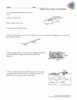 Volume Word Problems Worksheet Elegant Surface area & Volume Word Problems by Family 2 Family