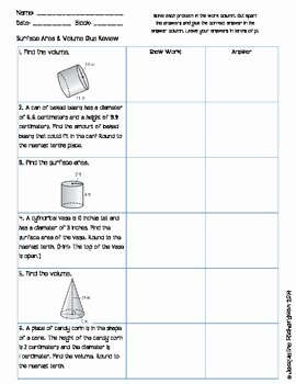 Volume Word Problems Worksheet Fresh Surface area and Volume Glue Review by Jacqueline
