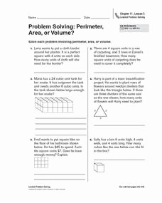 Volume Word Problems Worksheet Lovely Problem solving Perimeter area or Volume Worksheet for