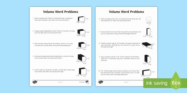 Volume Word Problems Worksheet Lovely Volume Metric Word Problems Worksheet Mathematics
