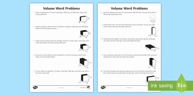 Volume Word Problems Worksheet Luxury Volume Word Problems Worksheet Worksheet Volume Cube