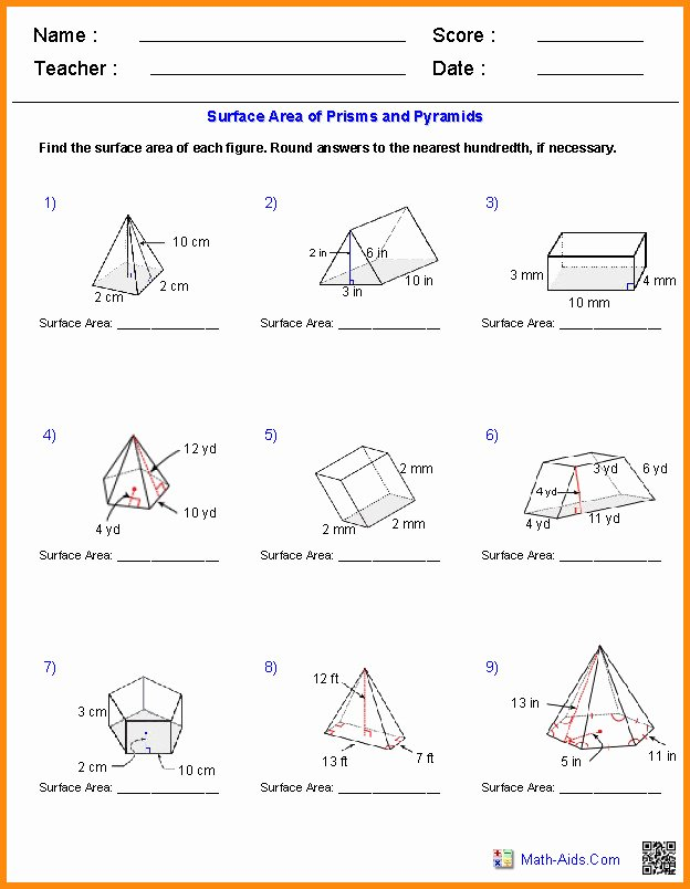 Volumes Of Prisms Worksheet Awesome Surface area and Volume Worksheet