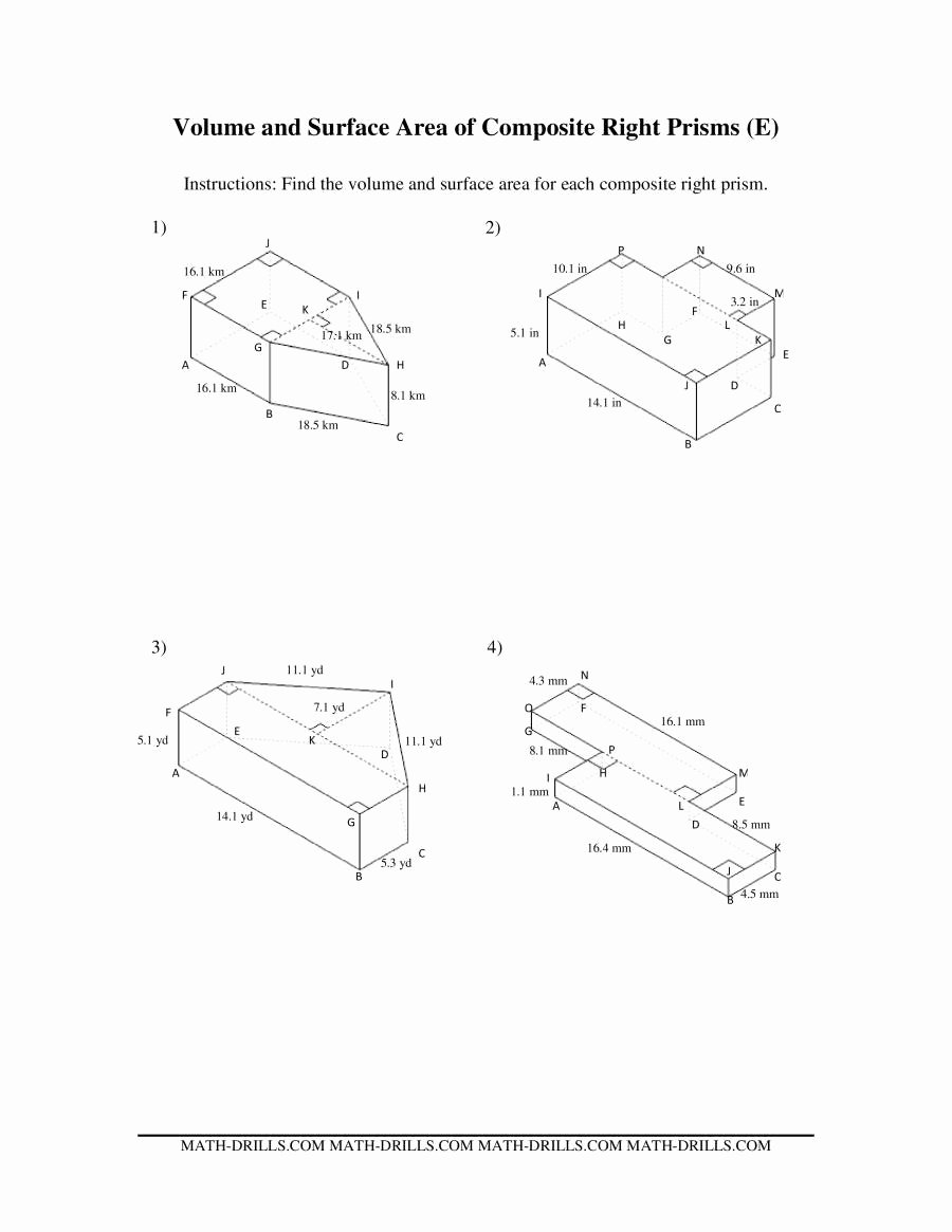 Volumes Of Prisms Worksheet Beautiful Volume and Surface area Of Posite Based Prisms
