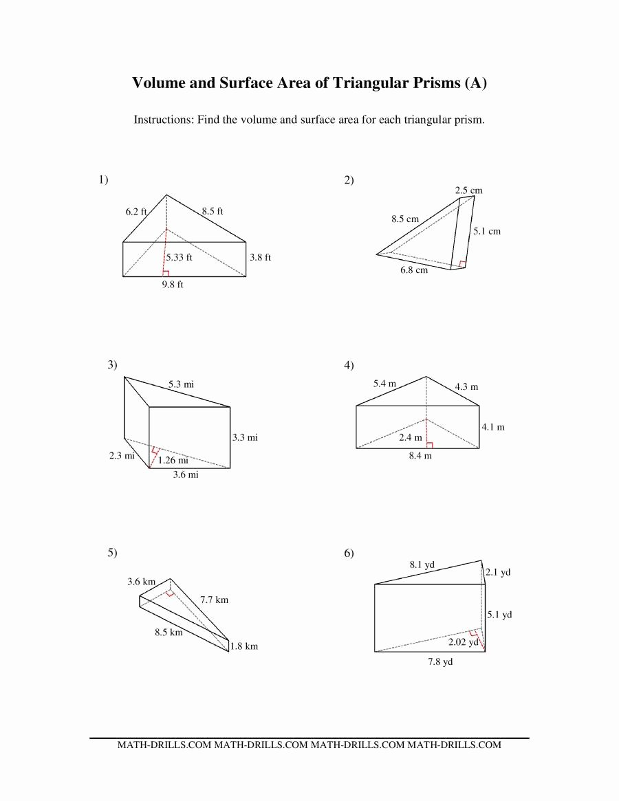 Volumes Of Prisms Worksheet Best Of Volume and Surface area Of Triangular Prisms A