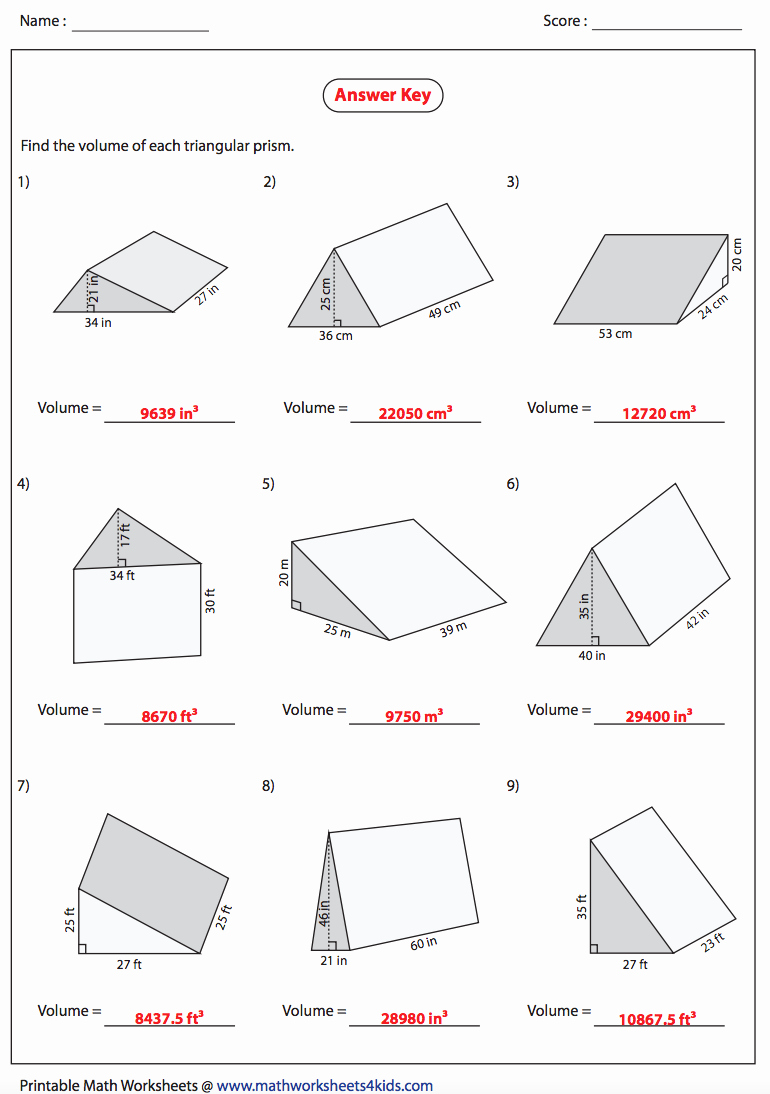 Volumes Of Prisms Worksheet Best Of Volume Of A Triangular Prism Answers Nms Self Paced Math