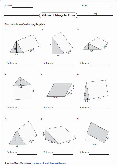 Volumes Of Prisms Worksheet Best Of Volume Worksheets