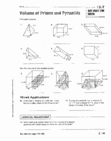 Volumes Of Prisms Worksheet Elegant Volume Of Prisms Pyramids Cylinders and Cones 8th 9th