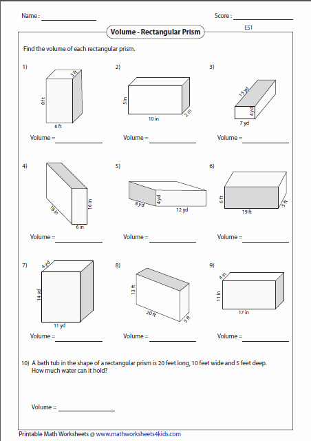 Volumes Of Prisms Worksheet Fresh Volume Worksheets