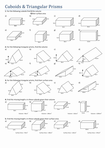 Volumes Of Prisms Worksheet Inspirational Maths Cuboids and Triangular Prisms by Tristanjones