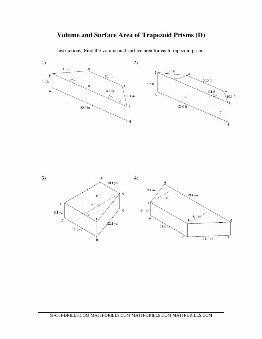 Volumes Of Prisms Worksheet Inspirational Volume and Surface area Of Trapezoid Prisms D