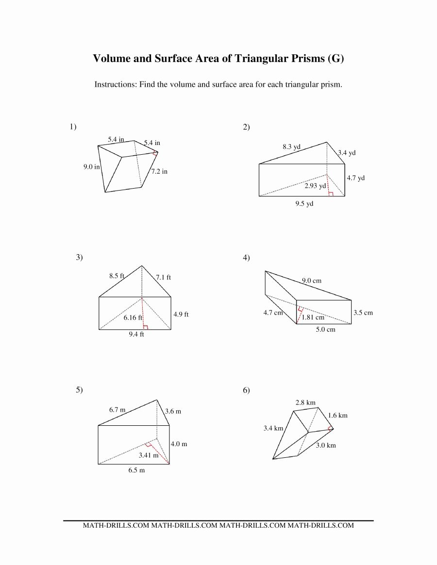 Volumes Of Prisms Worksheet Lovely Volume and Surface area Of Triangular Prisms G