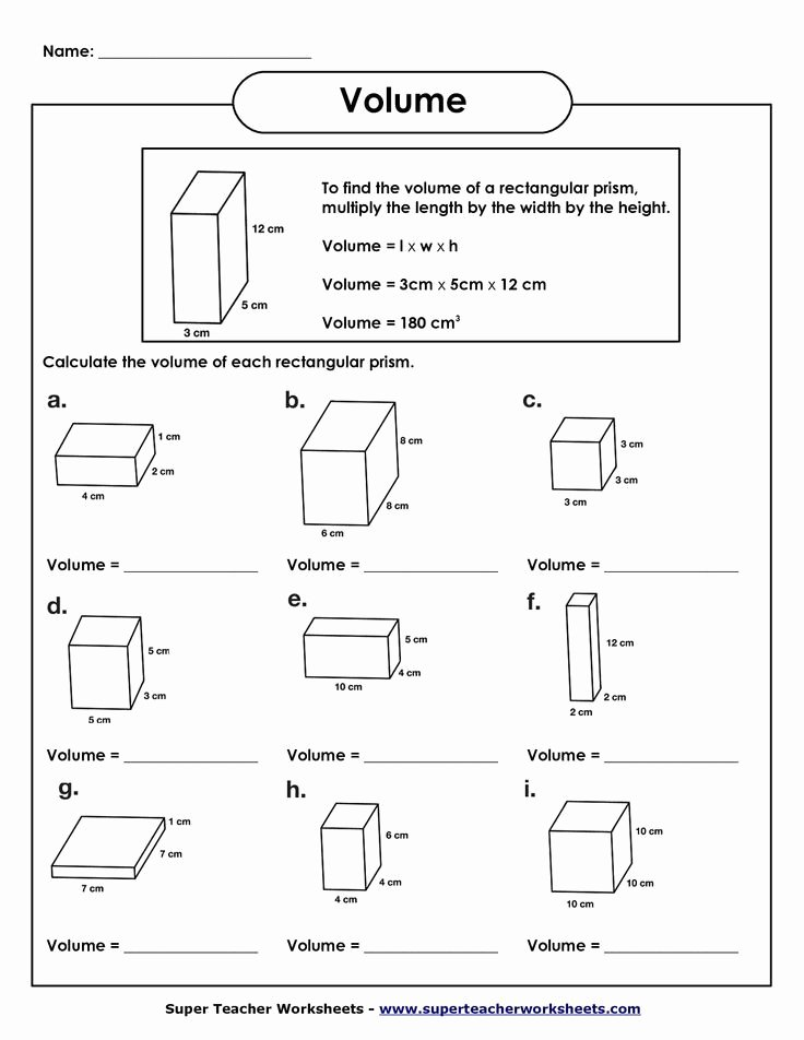 Volumes Of Prisms Worksheet Lovely Volume Of Rectangular Prism Worksheet