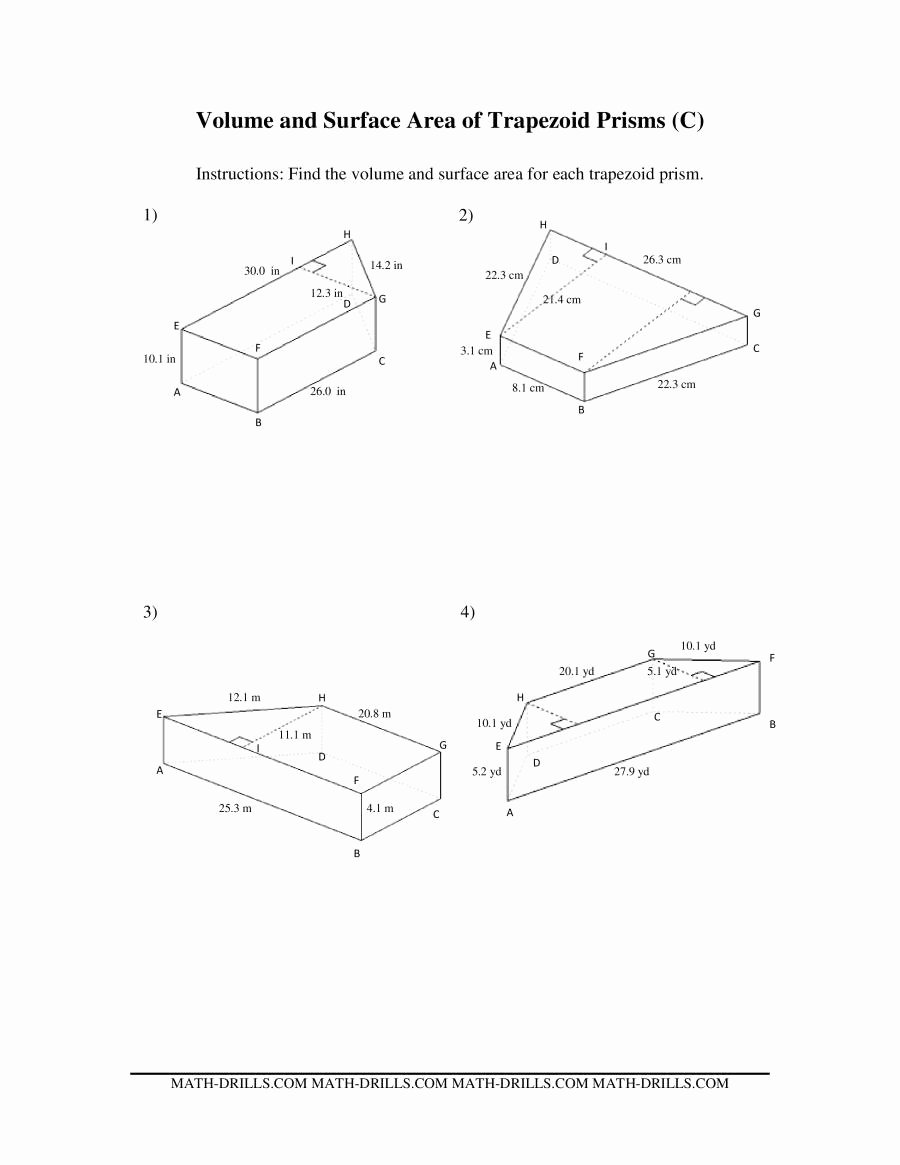 Volumes Of Prisms Worksheet Luxury Volume and Surface area Of Trapezoid Prisms