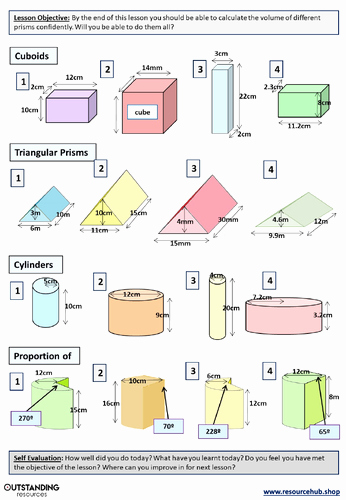 Volumes Of Prisms Worksheet Unique Geometry Volume Of Prisms Levelled Worksheet by Ajf43