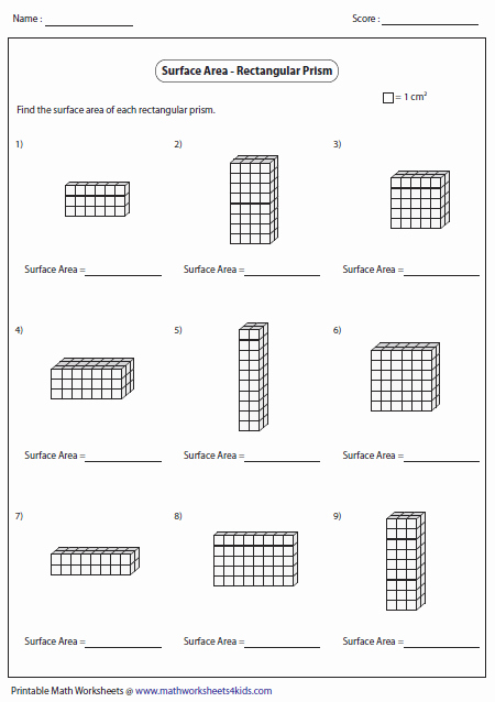 Volumes Of Prisms Worksheet Unique Surface area Worksheets