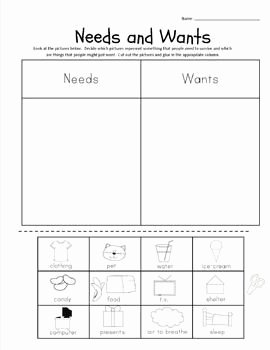 Wants and Needs Worksheet Awesome 16 Best Images About S S Worksheets On Pinterest