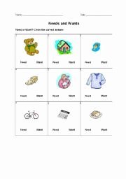 Wants and Needs Worksheet Best Of English Worksheets Needs and Wants
