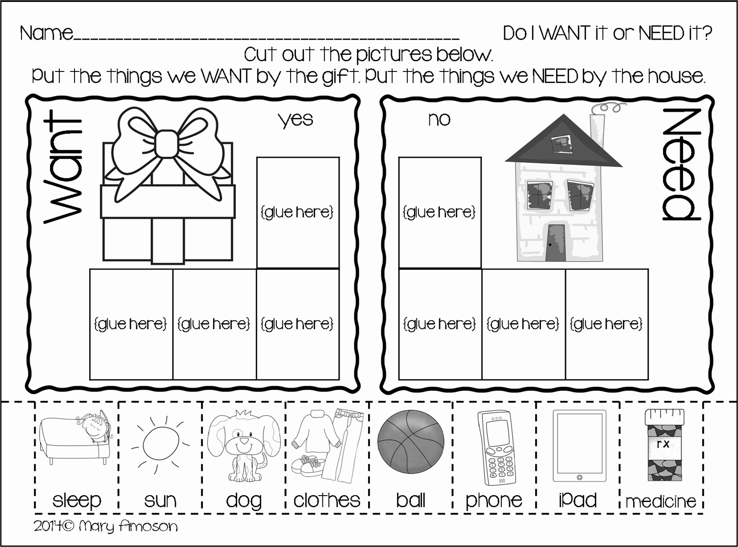 Wants and Needs Worksheet Elegant Grab This Freebie today for Wants and Needs