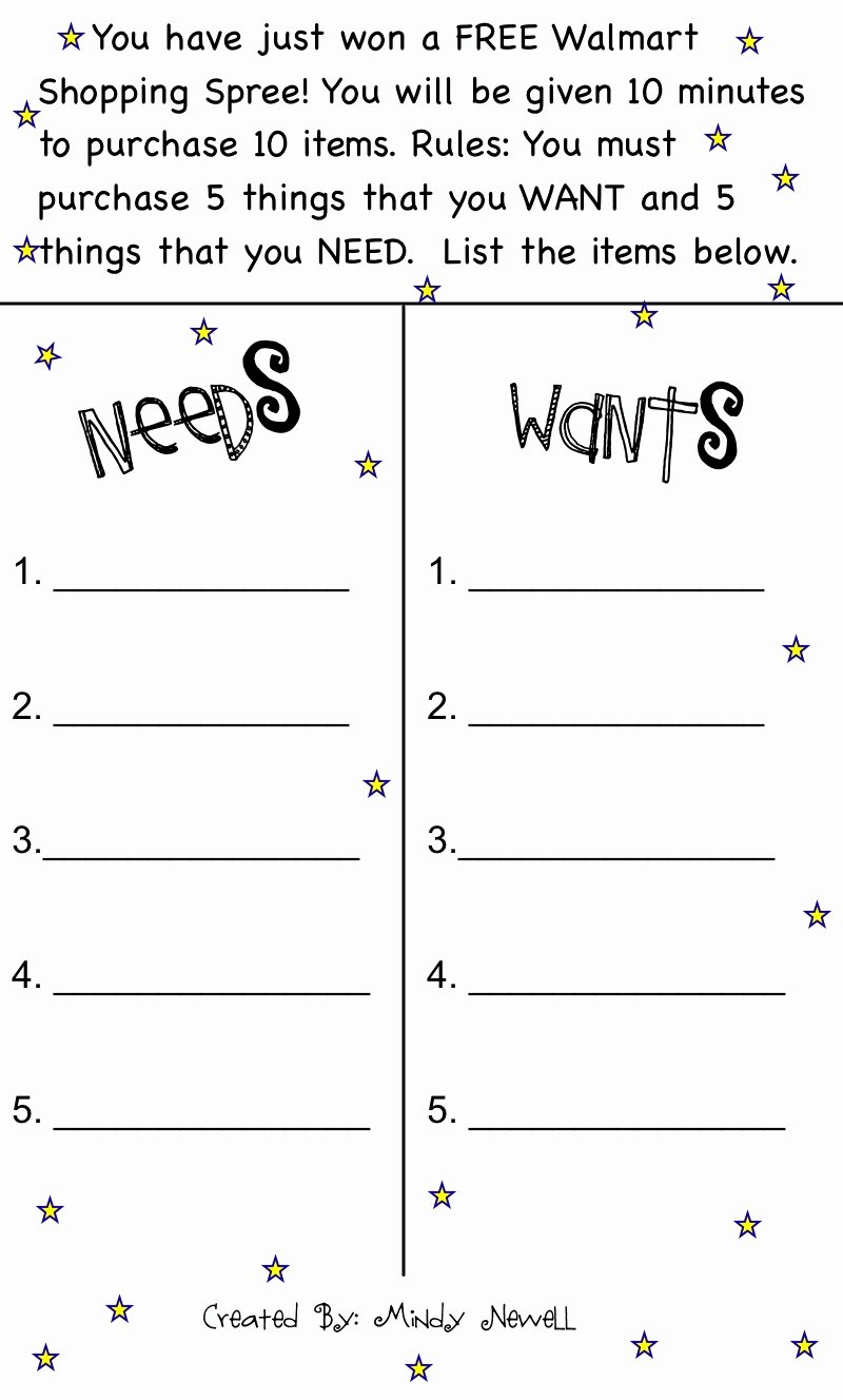 Wants and Needs Worksheet Elegant Iintegratetechnology Needs and Wants Scarcity
