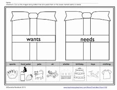Wants and Needs Worksheet Fresh 1000 Images About Needs and Wants for Kindergarten On