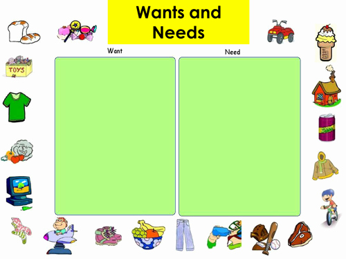 Wants and Needs Worksheet Fresh Needs and Wants by Amelia Teaching Resources Tes